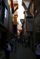 Úzké uličky v Bergenu